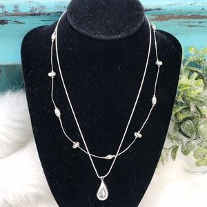 2 Silpada Modern Necklaces-Teardrop and Illusion